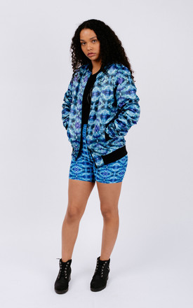 Blue Abstract Print Duchess Satin Unisex Bomber Jacket by Chronicles Clothing Product photo