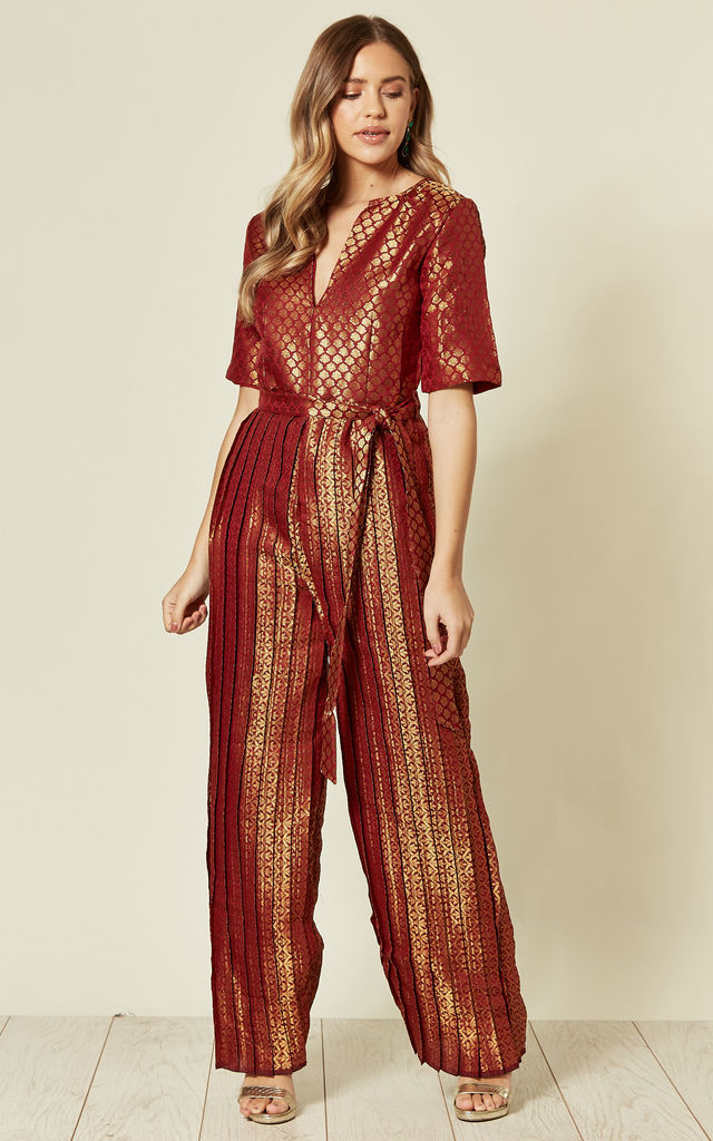 V Neck Pleated Brocade Jumpsuit by Nesavaali