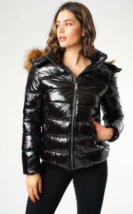 Wet Look Padded Jacket With Faux Fur Hood In Shiny Black by LOVE SUNSHINE Product photo