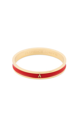 Red/Gold Bangle With Personalised A Initial by Florence London Product photo