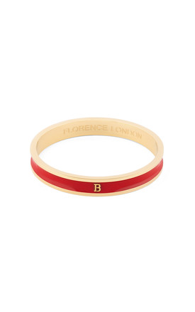 Red/Gold Bangle With Personalised B Initial by Florence London Product photo