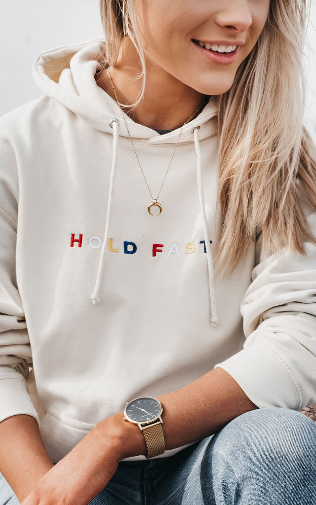 'Hold Fast' Embroidered Hoody in Cream by ART DISCO