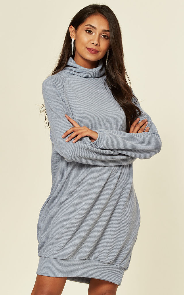 Jumper Dress With Roll Neck And Pockets In Blue by Lilura London