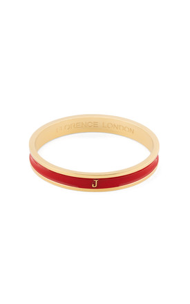 Red/Gold Bangle With Personalised J Initial by Florence London Product photo