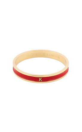 Red/Gold Bangle With Personalised K Initial by Florence London Product photo