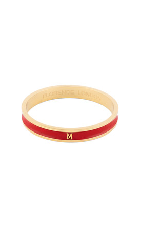 Red/Gold Bangle With Personalised M Initial by Florence London Product photo