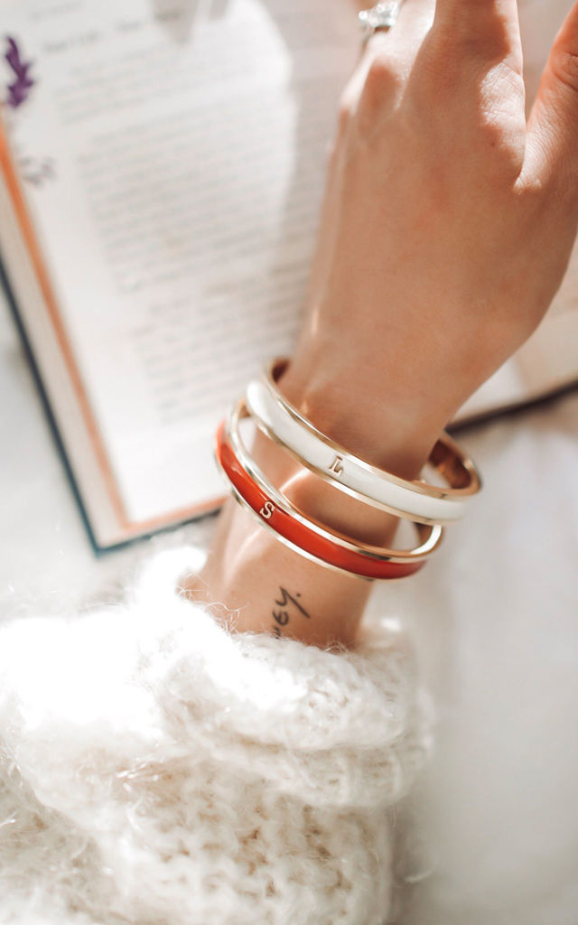 Red/Gold Bangle With Personalised O Initial by Florence London