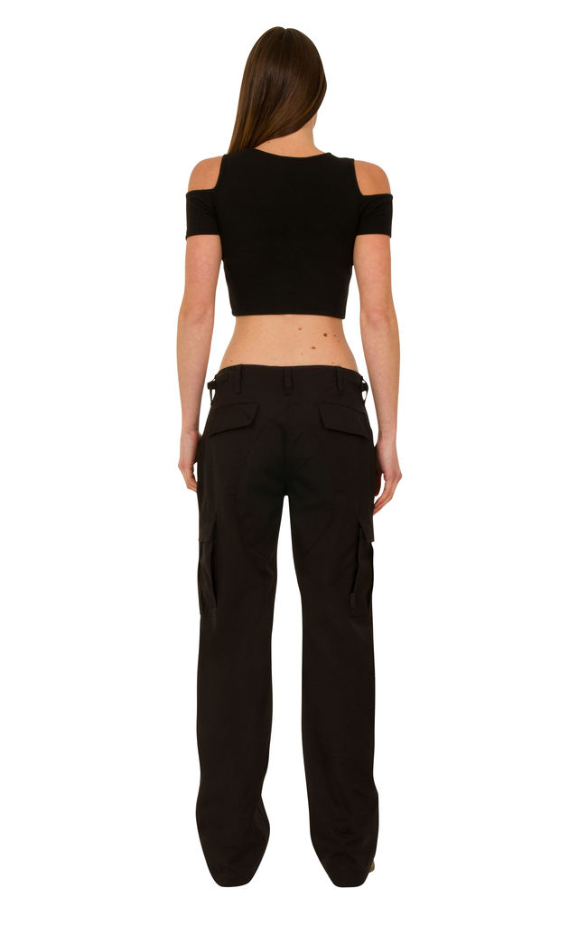 Black Wide Leg Cotton Cargo Trousers by Glamour Outfitters