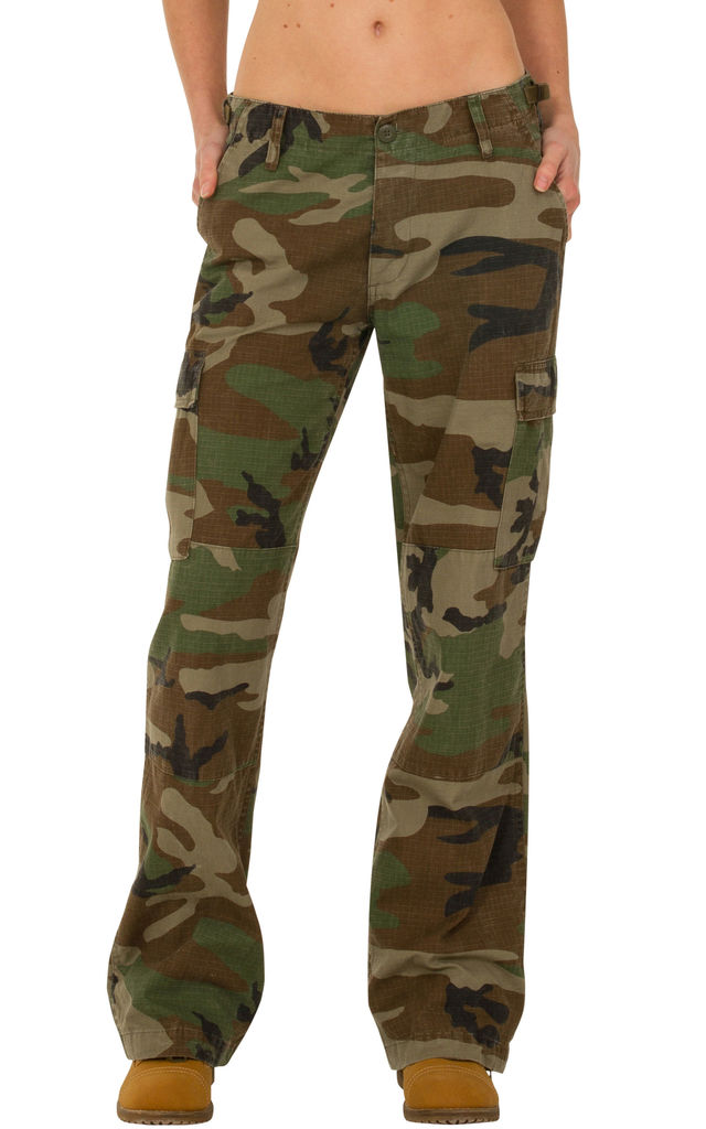 Green & Brown Wide Leg Camouflage Cargo Trousers by Glamour Outfitters