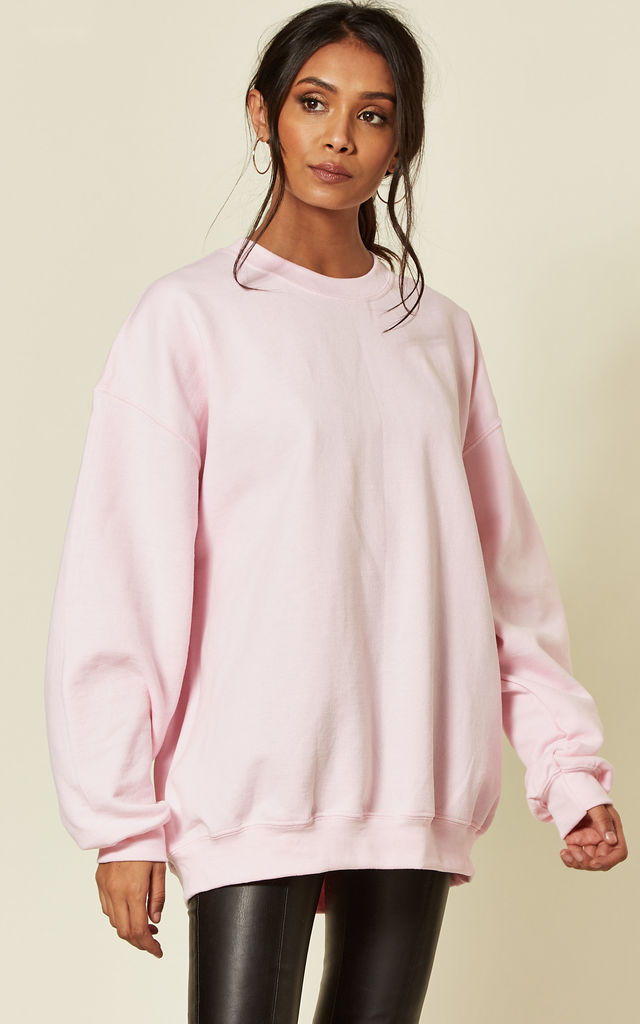 Pink Oversized long sleeve jumper by Pharaoh London