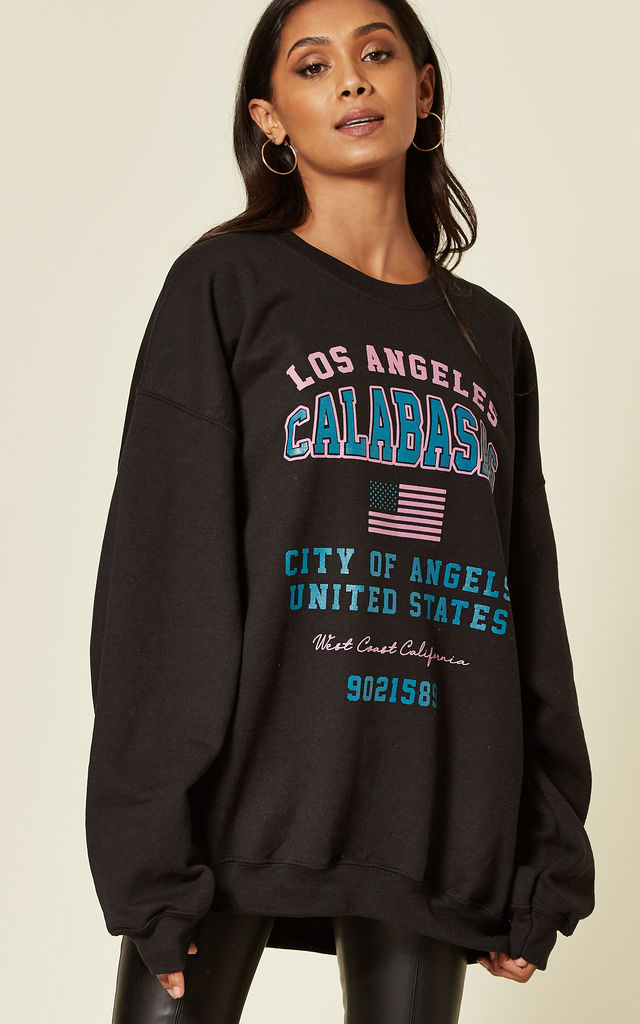 Black oversized Sweatshirt With City of Angels Slogan by Pharaoh London