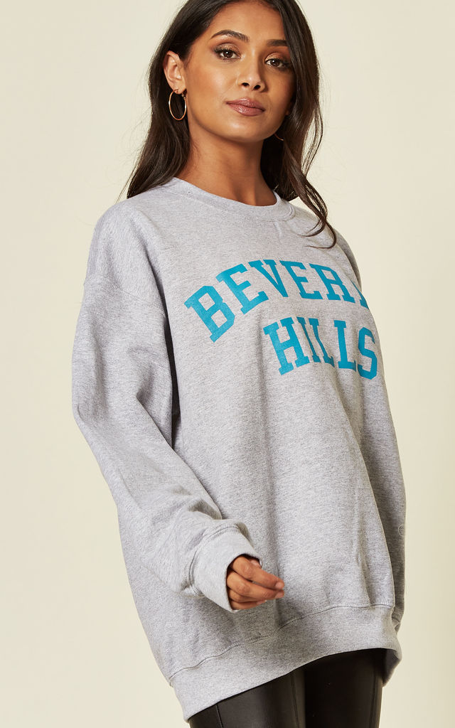 BEVERLY HILLS SLOGAN SWEATER Cosy Oversized Baggy Lounge Gym Long Sleeve Pullover Knitwear Jumper grey by Pharaoh London