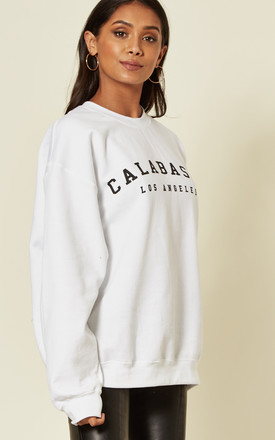 White Calabasas Los Angeles Slogan long sleeve oversized jumper by Pharaoh London