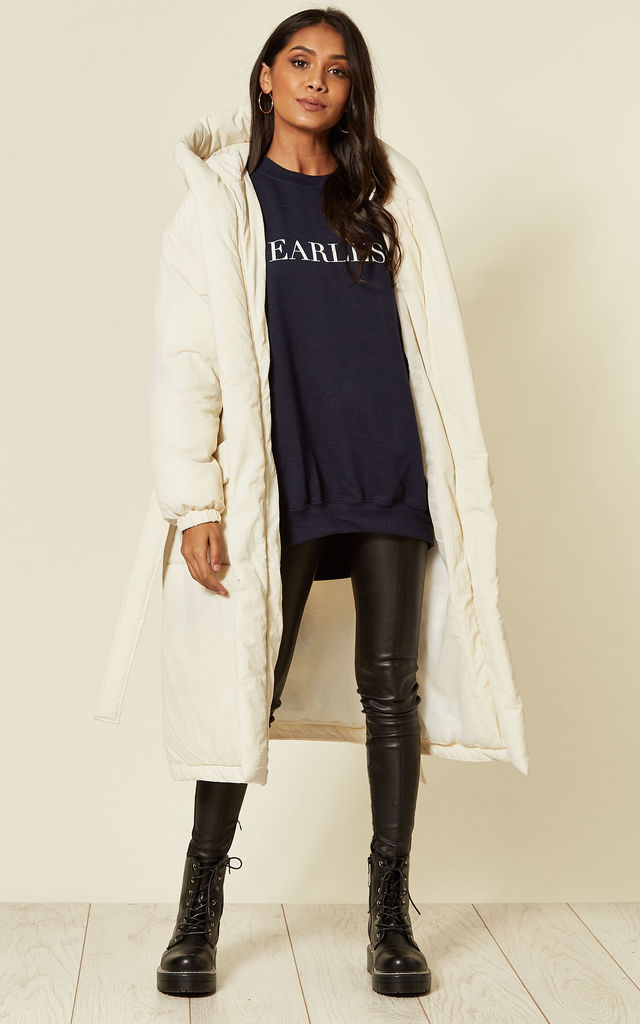 Fearless oversized baggy sweatshirt Slogan lounge cosy jumper in navy by Pharaoh London