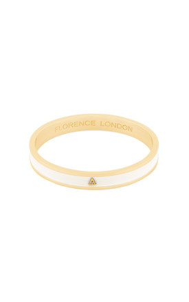 Cream/Gold Bangle With Personalised A Initial by Florence London