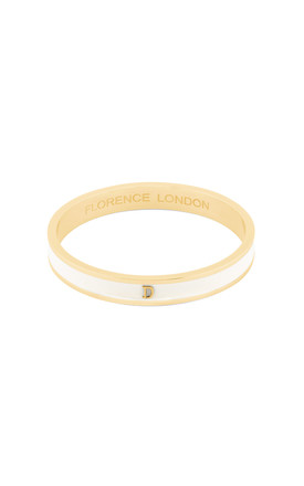 Cream/Gold Bangle With Personalised D Initial by Florence London Product photo