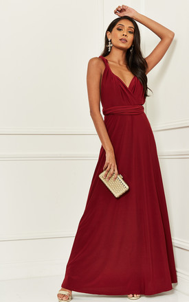 Alexis Burgundy Multi Way Maxi Bridesmaid Dress by Revie London Product photo