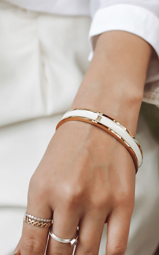 Cream/Gold Bangle With Personalised V Initial by Florence London