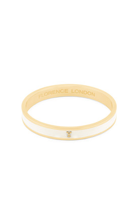 Cream/Gold Bangle With Personalised Y Initial by Florence London
