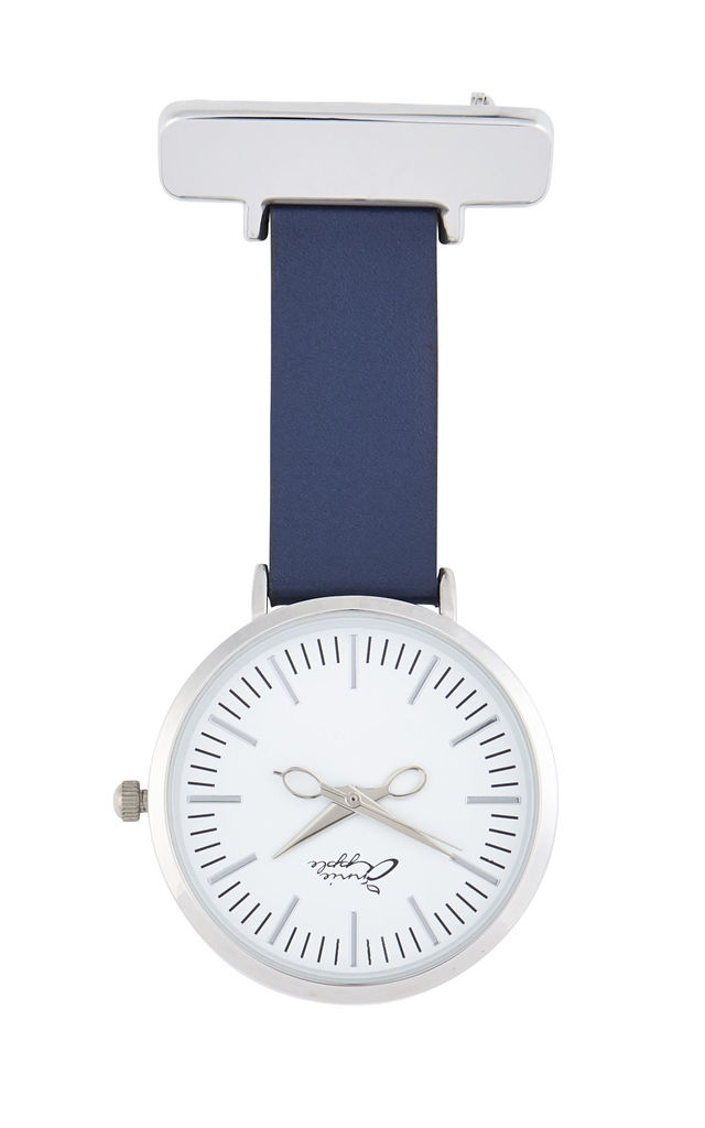 SILVER NURSES FOB WATCH with NAVY LEATHER STRAP by Peachy Label