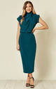 Gracie Midi Dress in Teal by House Of Lily