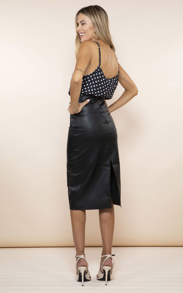 REECE PU MIDI SKIRT by Dancing Leopard