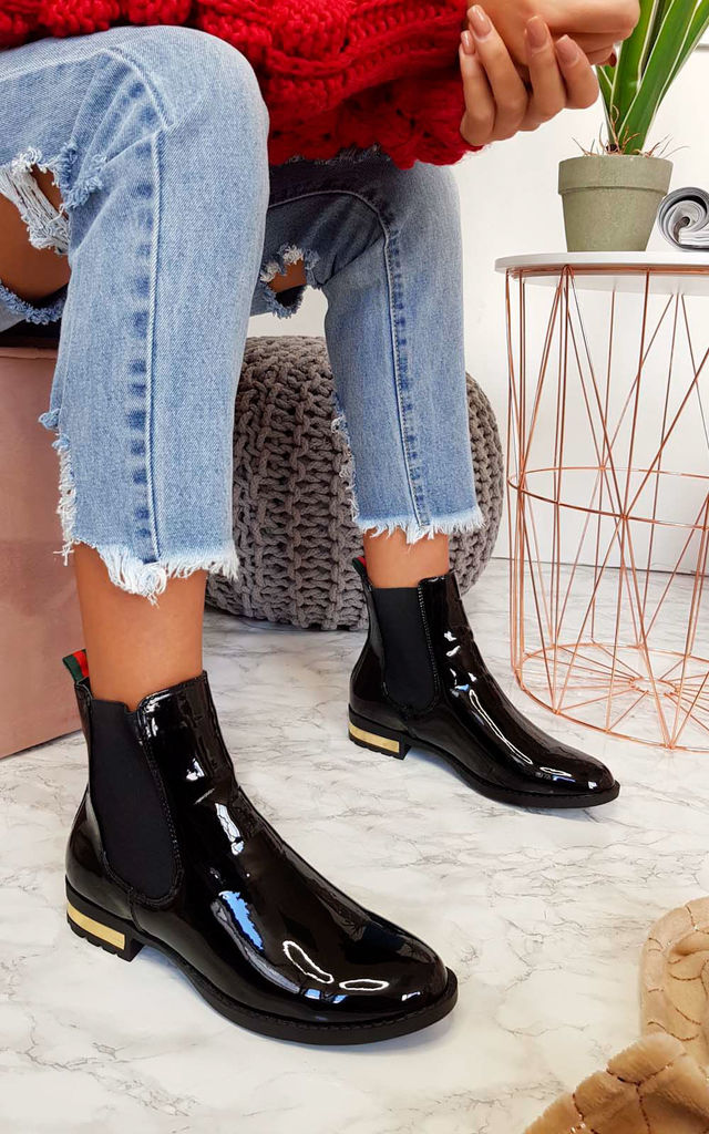 Daina Patent Ankle Boots in Black Patent by IKRUSH