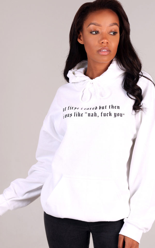 'At first I cared' Oversized Hoodie in White by LimeBlonde