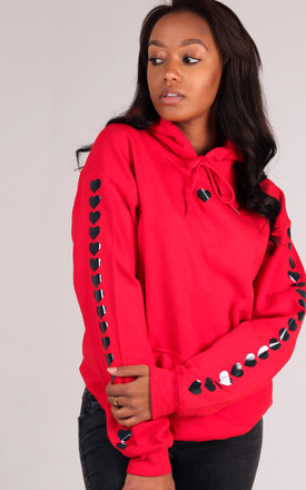 Oversized Hoodie in Red with Black Glitter Heart Sleeves by LimeBlonde