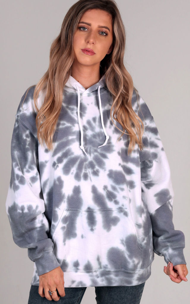 Oversized Hoodie in Grey and White Tie Dye by LimeBlonde