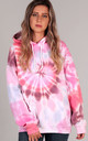 Oversized Hoodie in Pink and Red Tie Dye by LimeBlonde