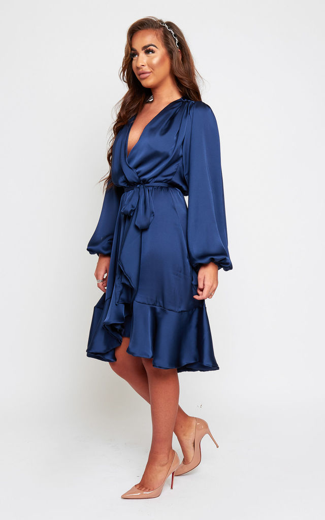 Maya Navy Silky Satin Wrap Style Dress With Oversized Sleeves by SHE BY SOPHIE