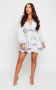 Madison Silver Oversized sleeve Silky Satin Wrap Dress by SHE BY SOPHIE