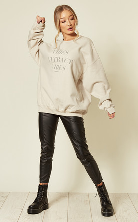Vibes reflective slogan sweater oversized boyfriend gym lounge wear jumper by Pharaoh London