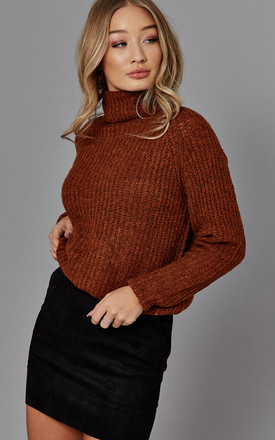 Knitted Roll Neck Jumper In Burnt Orange by ONLY Product photo