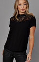 High Neck Top with Lace Detail in Black by ONLY