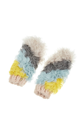 Yana Gloves In Multicoloured Faux Fur by Urbancode London Product photo