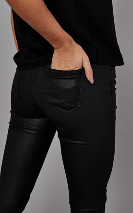 Coated Skinny Fit Trousers in Black by ONLY