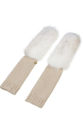 Yazmin Cream Knitted Gloves by Urbancode London Product photo