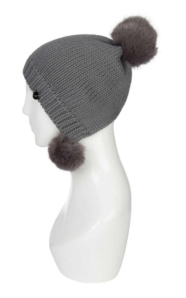 Hat With Pom Poms Grey by Urbancode London