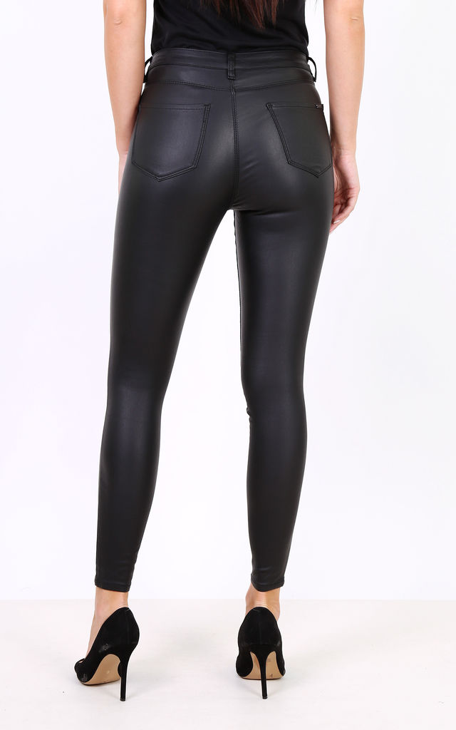 Toxik 3 Black Leather Look / Wax Coated Jeans by Azzediari Clothing