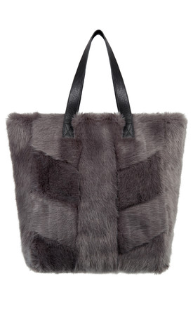 Kamille Grey Faux Fur Bag by Urbancode London Product photo