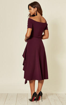 Exclusive Bardot Off Shoulder Midi Dress Purple by Feverfish