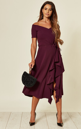 Exclusive Bardot Off Shoulder Midi Dress Purple by Feverfish Product photo