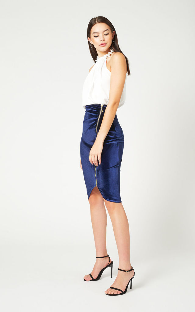 Hayden Navy Velvet Zip Front Skirt by Vesper247