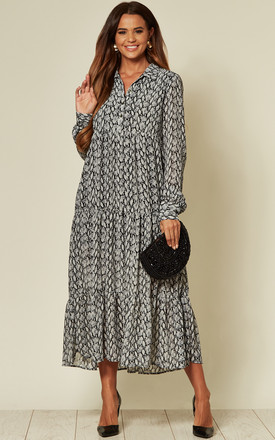Grey Snake Print Maxi Smock Dress by LOVE SUNSHINE Product photo