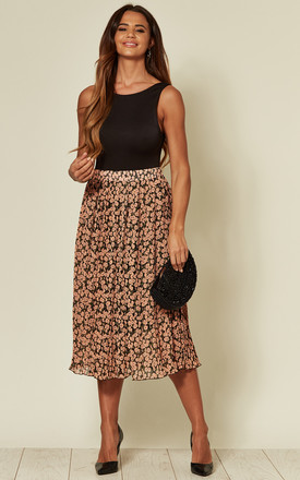 Pleated Floral Midi Skirt by LOVE SUNSHINE