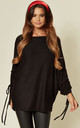 Ruched Sleeve Soft Feel Oversize Top in Black by Suzy D
