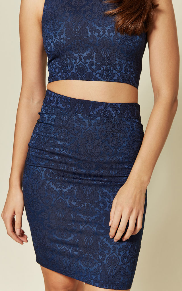 Jacquard blue skirt with zip back by Madam Rage