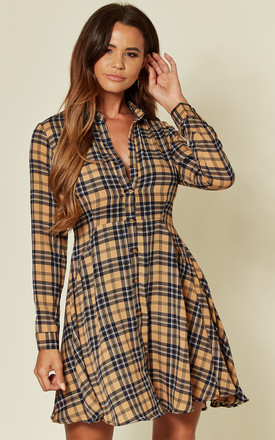 Stone Tartan Check Mini Dress by LOVE SUNSHINE Product photo